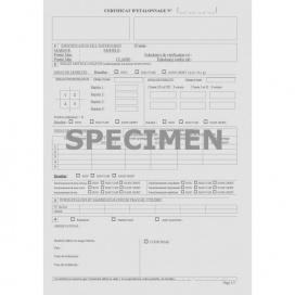 Certificat d'étalonnage pour jauge de profondeur